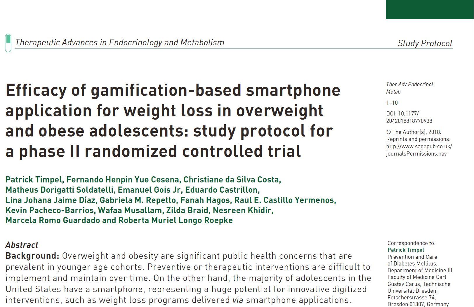 Studienprotokoll zur Evaluation einer gamification-basierten Smartphone-Applikation veröffentlicht